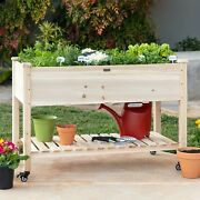 Raised Garden Bed Mobile Elevated Wood Planter W/lockable Wheels Storage Liner