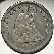 1858-o Seated Liberty Quarter Better Date New Orleans Mint 25c Coin 3