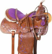Outdoor Sports Western Leather Barrel Saddle With Free Matching Set.