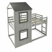 Chelsea Home Lucian Twin Twin House Bunk Bed Rustic Gray 36hbb100-rg