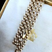 Solid 9ct 9k 375 Yellow Gold Belcher Link Chain Necklace. Length 22.5 57cm