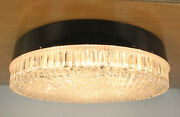 Huge 20and039and039 Flush Mount Lamp Glass Shade Ceiling Fixture Light Vintage 1960and039s