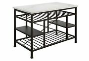 Acme Lanzo Counter Kitchen Island With Marble And Gunmetal 98400