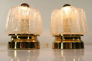 Vintage Doria Bedside Or Table Lamps Foami Handblown Glass Shades 1960and039s - 1970and039