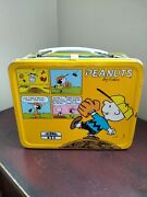 Vintage Peanuts Metal Lunch Box Featuring Snoopy And Charlie Brown