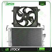Condenser And Cooling Fan Assembly For 2001 2002 2003 2004-2006 Hyundai Elantra