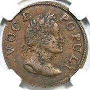 1760 N-6 Ngc Xf 40 Voce Populi Half Penny Colonial Copper Coin 1/2p