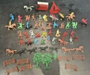 Collection Of Plastic Toy Figures Horses Cowboys American Indians Soldiers Canoe