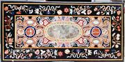 Multi Color Stones Inlay Art Dining Table Top Marble Lawn Table 36 X 72 Inches