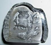 Vintage White Glass Owl Leaf Weight Paperweight