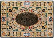 Multi Color Stones Dining Table Top Unique Art Marble Hallway Table 36 X 48 Inch