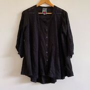 Johnny Was Black Rayon Broderie Anglaise Button Up Shirt Lagenlook