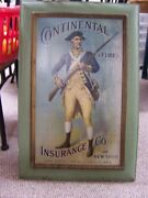 Vintage Continental Fire Insurance Co. Of New York Tin Sign About 20 X 30 Inches
