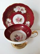 Vintage Shafford Footed Teacup And Saucer Hand Painted Pink Roses Gold Gilt Japan