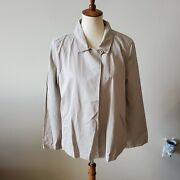 Eileen Fisher Womens Pebble Convertible Collar Jacket Size Large Tan Nwt