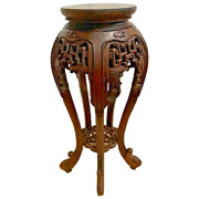 Antique Tall Plant Stand French Polynesian Lattice Carved Display Bottom Shelf