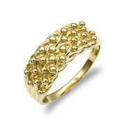 Mens Solid 9ct Yellow Gold 4 Row Keeper Rope Edge Ring