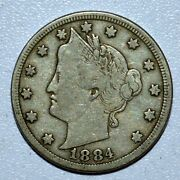 1884 Liberty V Nickel ✪ Vf Very Fine ✪ 5c L@@k Now Scarce Coin F509 ◢trusted◣