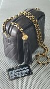Auth. New 1994 Chanelcamera Tassel Shoulder Bag Cc Logo Quilted Black Leather