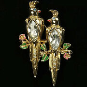 Coro Gold Diamante Chatons And Enamel Perching Cockatoo Duette