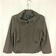 Sharagano Studio Jacket Size M Brown Cotton Blend Lined Hook And Loop Closures
