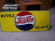French Porcelain Double Dot Pepsi Sign 29 X 12 Inches Buvez Glace Pm 50