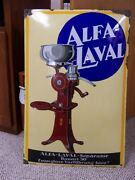 Porcelain Alfa-laval Cream Seperator Sign German Bowed Sign About 19 X 29 Inches