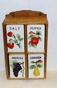 Vintage 1950s Spice Rack Fruit Decor Japan Ceramic With 4 Containers