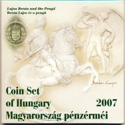 Hungary Kms Official Mint Set 7 Coins + Rare Silver Medal Pengo 2007