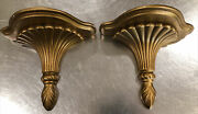 """2 Vintage Coventry Ware Gold Shelves, 8"""" Wide X 7"""" Tall Each"""