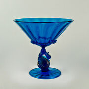 Large Salviati Blue Venetian Glass Footed Bowl Or Fruit Stand - Swan Pedestal Gl