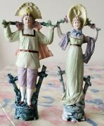 Meissen Porcelain Antique Figurines Of Man And Woman Great Condition Vintage