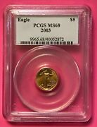 2005 Tenth Oz Gold American 5 Eagle Coin- Pcgs Ms69 - Mint - First Strike