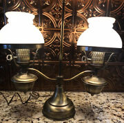 Large Antique Double Student Lamp W/white Shades Converted Oil To Electric Euc
