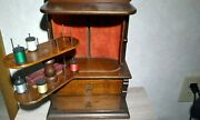 1800's Antique Walnut Sewing Spool Thread 2 Drawer Victorian Cabinet + Silver