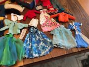 Vintage Barbie And Midge Dolls, Clothes, And Case 1960's Lot