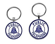 Bell System Public Phone Sign Image Key Ring Necklace Cufflinks Pin Jewelry Sets