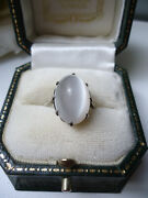 Antique Georgian Stunning Huge Oval Cats-eye Moonstone Cabochon Silver Ring Q/p