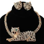 Luxe Statement Gold Tiger Crystal Magnetic Cuff Necklace Set By Rocks Boutique