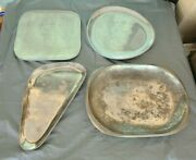 4 Nambe Serving Plates.trys.one 3 Sided. 657- 555 -552 -w168. See Pics. 3 Vtg