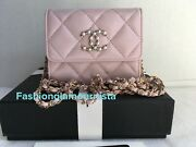 Auth Bnib Pink Xl Card Holder Clutch With Chain Wallet On A Chain Bag 21s