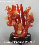 26cm Pure Natural Agate Onyx Carving Magpie Birds Flower Brush Pot Pencil Holder