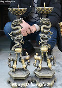 23 China Bronze Dragon Dragons Loong Lion Leo Candle Stick Oil Lamp Statue Pair