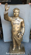 114cm Huge Rare China Pure Bronze Stand Great Leader Mao Zedong Chairman Statue