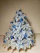 Vintage Ceramic Christmas Tree Blue White Pearlized Opalescent 14 Tall Rare