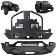Front Rear Bumper And Tire Carrier W/o Oil Drums For 07-18 Jeep Wrangler Jk Steel