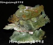 China Natural Jade Carved Fish Fishes Goldfish Shell Conch 福 Word Coin Statue
