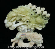 17'' Natural Xiu Jade Carved Peony Lily Flower Elephant Flower Basket Statue