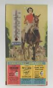 1940 Tums Advertising Calendar / Thermometer Card Horse Dogs Hunt Scene