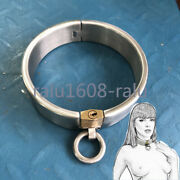 Metal Heavy Stainless Steel Rings Collar Neck Restraint Brass Lock Couple Games